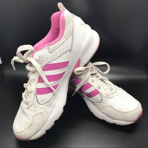 Adidas girls white and pink sneakers